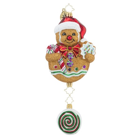 RADKO 1018431 WINTERMINT WHIMSY - GINGERBREAD MAN COOKIE WITH CANDY DANGLE ORNAMENT - NEW 2016 (16 - 12)