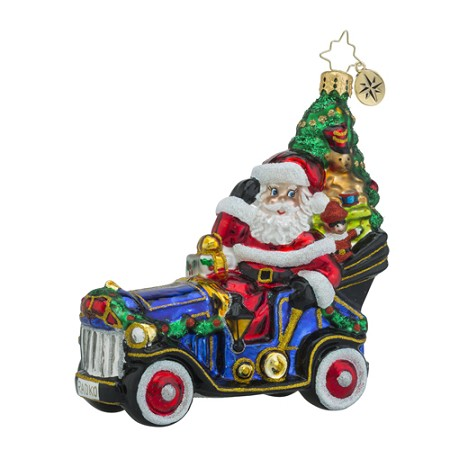 RADKO 1018435 MERRY MOTORING - SANTA DRIVING CAR WITH CHRISTMAS TREE ORNAMENT - NEW 2016 (16 - 12)