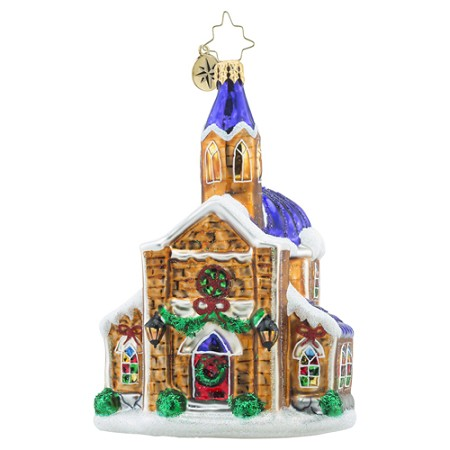 RADKO 1018442 HOLY GATHERING - RELIGIOUS - SNOW COVERED CHURCH ORNAMENT - NEW 2016 (16 - 12)
