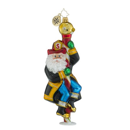 RADKO 1018448 SANTA TO THE RESCUE - FIREMAN SANTA ORNAMENT - NEW 2016 (16 - 12)