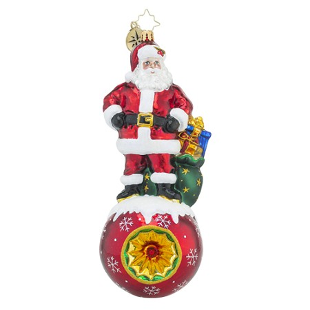 RADKO 1018466 REVERENT REFLECTIONS - SANTA ON BALL WITH REFLECTOR ORNAMENT - NEW 2016 (16 - 13)