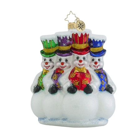 RADKO 1018501 HERE FOR THE PARTY - 4 SNOWMEN WITH TOP HATS ORNAMENT - NEW 2016 (16 - 14)