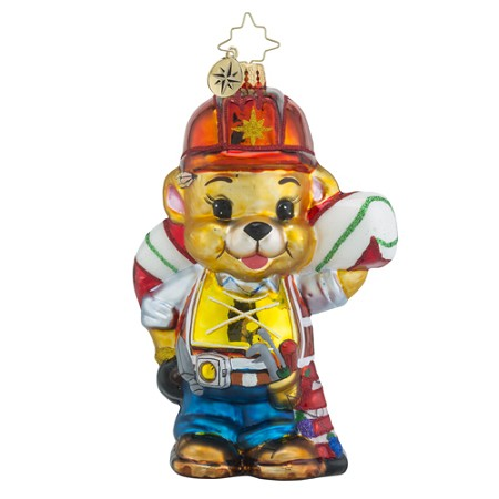 RADKO 1018508 BEARING THE WORK - CONSTRUCTION WORKER BEAR CARRYING A CANDY CANE ORNAMENT - NEW 2016 (16 - 14)