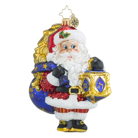 RADKO 1018515 ONE FOR ALL - CHRISTMAS AND HANNUKAH - SANTA WITH DREIDEL ORNAMENT - NEW 2016 (16 - 14)