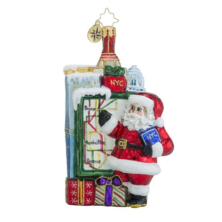 RADKO 1018530 GETTING AROUND TOWN - THE BIG APPLE - SANTA IN NEW YORK CITY ORNAMENT - NEW 2016 (16 - 14)