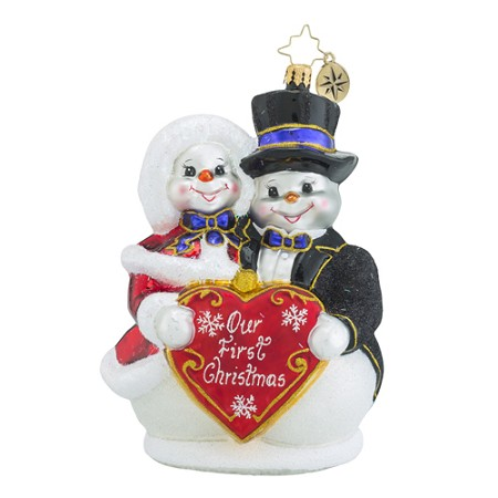 RADKO 1018562 SNOWY SWEETHEARTS - OUR FIRST CHRISTMAS - SNOWMAN AND SNOW GIRL ORNAMENT - NOT DATED - NEW 2016 (16 - 15)
