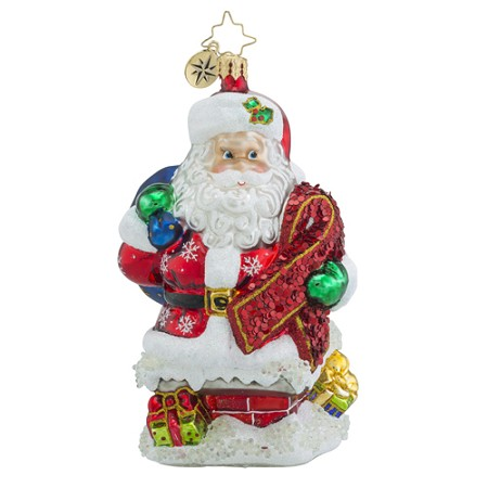 RADKO 1018567 RIBBON DELIVERY - HIV/AIDS AWARENESS - SANTA WITH RIBBON ORNAMENT - NEW 2016 (16-1)