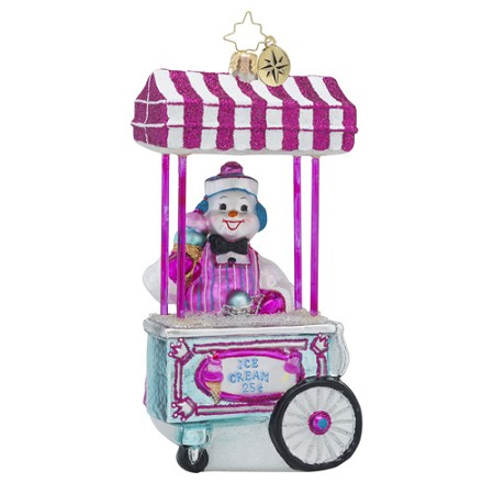 RADKO 1018571 GELATO FOR ALL - SNOWMAN AND GELATO STAND ORNAMENT - NEW 2016 (16 - 15)