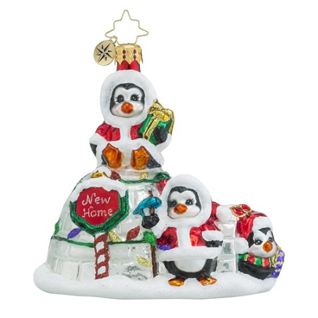 RADKO 1018572 ICY HOME - NEW HOME - PENGUINS AND IGLOO ORNAMENT - NEW 2016 (16 - 15)