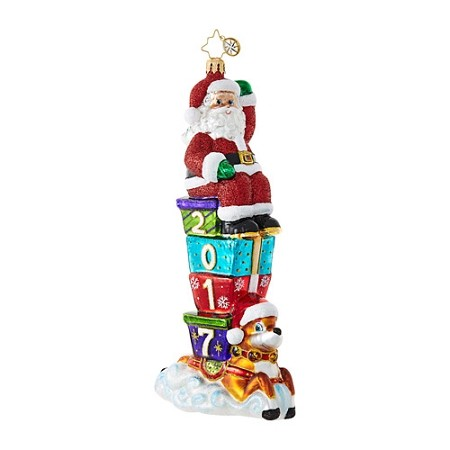 RADKO 1018660 2017 SANTA PARADE - DATED 2017 - SANTA ON GIFTS AND REINDEER ORNAMENT - NEW 2017 (17-2)