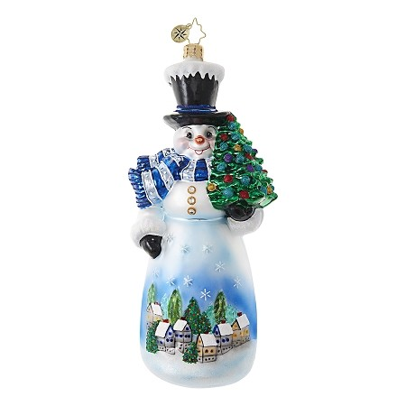 RADKO 1018694 STARRY SKIES SNOWMAN - LARGE SNOWMAN WITH PAINTED SCENE ORNAMENT - NEW 2017 (17-7)