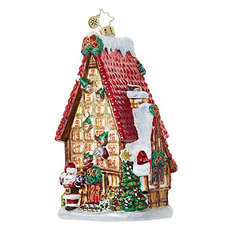 RADKO 1018700 COUNTDOWN COTTAGE - ADVENT CALENDAR HOUSE WITH RED ROOF ORNAMENT - NEW 2017 (17-7)