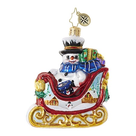RADKO 1018769 SNOWY GIFT SLEIGH RIDE GEM - SNOWMAN IN SLEIGH ORNAMENT - NEW 2017 (25-1)