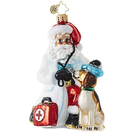RADKO 1018830 PAGING DR. CLAUS - VETERINARIAN SANTA WITH DOG ORNAMENT - NEW 2017 (17-10)