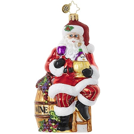 RADKO 1018994 CABERNET CHRISTMAS - SANTA WITH GLASS OF WINE ORNAMENT - NEW 2017 (17-14)