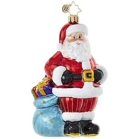 RADKO 1019059 PACKIN' IT UP - DESIGNER FOR A DAY - BRANT MOLL - SANTA AND BAG ORNAMENT - NEW 2017 (17-16)