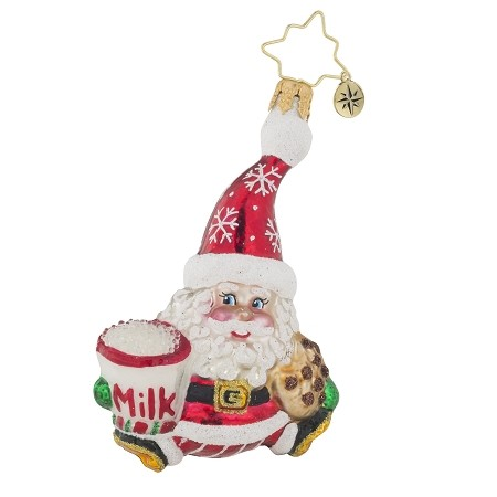 RADKO 1019122 SNACK THE SANTA GEM - SANTA WITH MILK AND COOKIE ORNAMENT - NEW 2017 (25-1)