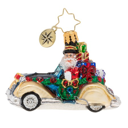 RADKO 1020252 RETRO ROADSTER GEM - SANTA IN CAR WITH GIFTS ORNAMENT - NEW 2020 (28-5)
