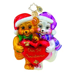 RADKO 1015810 FURRY FIRST - BEARS - OUR FIRST CHRISTMAS ORNAMENT - NEW 2011 (11-4)