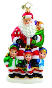 RADKO 1015723 FOR HE'S A JOLLY GOOD FELLOW - SANTA AND ELVES ORNAMENT - NEW 2011 (11-11)