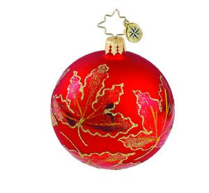 RADKO 1015886 RUBY SCARLETT MINI - VINTAGE BALL AND DROP COLLECTION - BALL ORNAMENT - NEW 2011 (11-14)