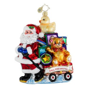 RADKO 1016188 SHOWERED WITH TOYS - BABY'S FIRST CHRISTMAS - SANTA PULLING A WAGON FULL OF TOYS ORNAMENT - NEW 2012 (12-11)