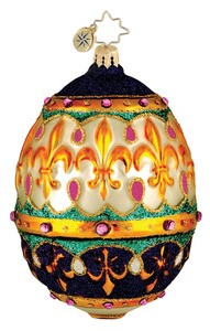 RADKO 1015974 BEDECKED AND BEJEWELED - WHITE/PURPLE EASTER EGG ORNAMENT - NEW 2012 (12-3)