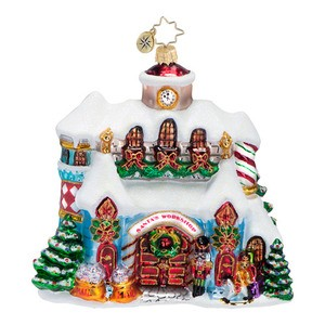 RADKO 1016596 MAKING CHRISTMAS MAGIC - SANTA'S WORKSHOP HOUSE ORNAMENT - NEW 2013 (13-8)