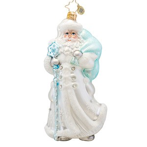 RADKO 1017476 WINTER BREEZE SANTA - SANTA WITH WHITE COAT AND BLUE STAFF ORNAMENT - NEW 2014 (14-15)