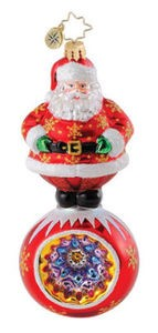 RADKO 1015133 REGALLY ROUND - SANTA ON BALL ORNAMENT - NEW 2010 (Q3)