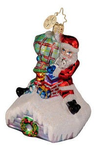 RADKO 1012581 EAVE'S DROPPING GEM - SANTA ON ROOF- RETIRED ORNAMENT (4)