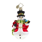 RADKO 1017603 WINTER'S TRILL GEM - SNOWMAN WITH CARDINAL & BLUEBIRD ORNAMENT - NEW 2015 (23)