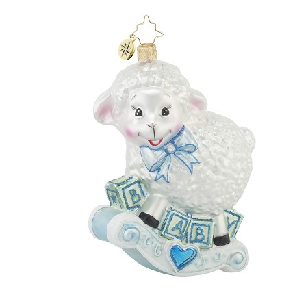 RADKO 1017608 BAA BAA BABY - BLUE - BOY - ROCKING SHEEP ORNAMENT - NEW 2015 (15-4)