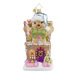 RADKO 1017615 OUT OF THE BOX - CANDY - GINGERBREAD MAN & GINGERBREAD HOUSE ORNAMENT - NEW 2015 (15-4)