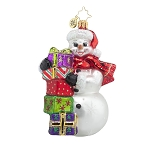 RADKO 1017622 FESTIVE AND FROSTY - SNOWMAN WITH STACK OF GIFTS ORNAMENT - NEW 2015 (15-5)