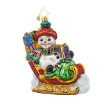RADKO 1017623 FROSTY SLEIGHRIDE - SNOWMAN IN SLEIGH WITH GIFTS ORNAMENT - NEW 2015 (15-5)