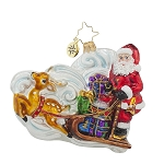 RADKO 1017626 GUIDE THE WAY - SANTA IN SLEIGH WITH REINDEER ORNAMENT - NEW 2015 (15-5)