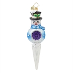 RADKO 1017643 FROSTY REFLECTION - JEWELED SNOWMAN ON BALL WITH REFLECTOR & ICICLE ORNAMENT - NEW 2015 (15-5)