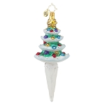 RADKO 1017645 WINTER SPRUCE - JEWELED TREE WITH ICICLE ORNAMENT - NEW 2015 (15-5)
