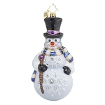 RADKO 1017652 FROSTY WINDS - JEWELED SNOWMAN WITH TOP HAT & SCARF ORNAMENT - NEW 2015 (15-6)