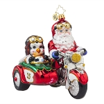 RADKO 1017663 MOTORCYCLE CHUMS - SANTA & PENGUIN RIDING A MOTORCYCLE & SIDECAR ORNAMENT - NEW 2015 (15-6)