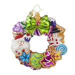 RADKO 1017689 TREATS WREATH - CANDY & GINGERBREAD COOKIES WREATH ORNAMENT - NEW 2015 (15-7)