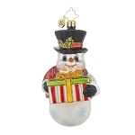 RADKO 1017694 A GIFT FOR YOU - BRILLIANT TREASURE - SNOWMAN WITH GIFT ORNAMENT - NEW 2015 (15-7)