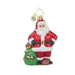 RADKO 1017719 JOB WELL DONE GEM - SANTA WITH GIFT BAG ORNAMENT - NEW 2015 (23)