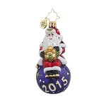 RADKO 1017720 A YEAR FOR CHEER GEM - DATED 2015 - SANTA ON PURPLE BALL ORNAMENT - NEW 2015 (23)