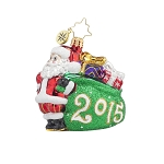 RADKO 1017721 JOLLY YEAR GEM - DATED 2015 - SANTA WITH GIFT BAG ORNAMENT - NEW 2015 (23)