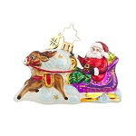RADKO 1017722 MAGIC JOURNEY GEM - SANTA IN SLEIGH WITH REINDEER ORNAMENT - NEW 2015 (23)
