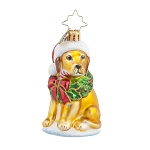 RADKO 1017729 LABRADOR LUCKY GOLDEN GEM - YELLOW LAB WITH CANDY CANE ORNAMENT - NEW 2015 (23-1)