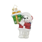 RADKO 1017737 ARCTIC DELIVERY - BRILLIANT TREASURE - POLAR BEAR & GIFT ORNAMENT - NEW 2015 (15-8)