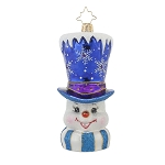RADKO 1017758 FROSTY TOPPER - SNOWMAN WITH BLUE TOP HAT ORNAMENT - NEW 2015 (15-8)